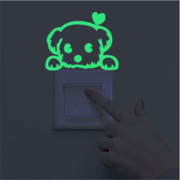 Luminous Stickers Super Bright Home Decoration DIY Funny Cute Cat Switch Glow in the Dark Living Room Fluorescent Sticker poster