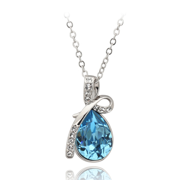 ZHOUYANG ZYN291 Ocean Blue Angel's Tears Silver Color Fashion Pendant Jewelry Made with Austria Crystal Wholesale