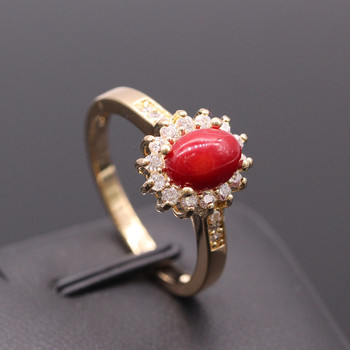 GZJY New Fashion Red Coral Rock AAA Cubic Zircon Champagne Gold Color Flower Earrings Ring Jewelry Set For Women