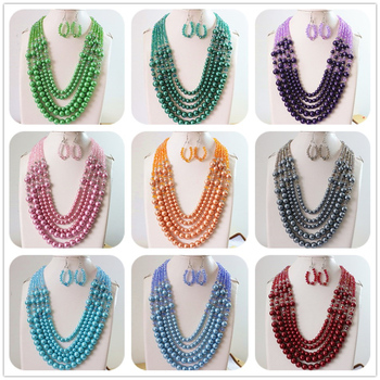 "5rows glass crystal multicolor abacus faceted round imitation shell pearl beads charms design earrings necklace 20-25.5""B983"