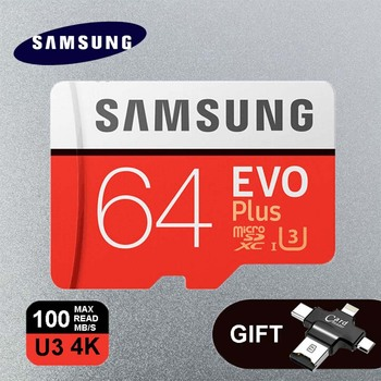 Samsung EVO Plus карты памяти 64 ГБ U3 128 ГБ 256 ГБ Class10 32 ГБ 16 ГБ U1 TF + 4 в 1 Тип-C/Lightning/Micro USB/USB 2.0 Card Reader