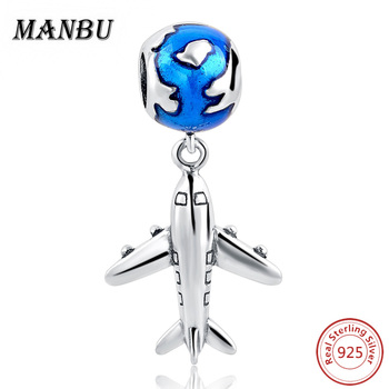 MANBU Fit Authentic Pandora Charms Bracelet Silver 925 Original Plane & Earth Sterling Silver Pendant Beads For Women Jewelry