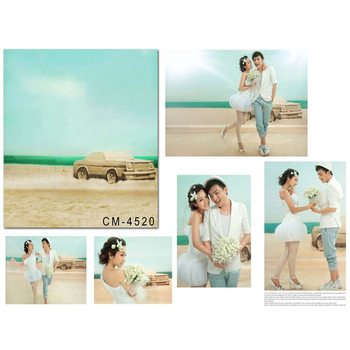 Wedding Photography Background Blue Ocean Beach Birthday Photo Backdrops Car White Clouds Background for Photographic Studio