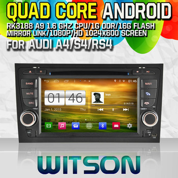 WITSON S160 dvd-плеер автомобиля для Audi A4 S4 RS4 GPS Quad Core Android 4.4 + емкостный HD 1024x600 Экран + 16 г flash + PIP + DVR/WI-FI/3 г